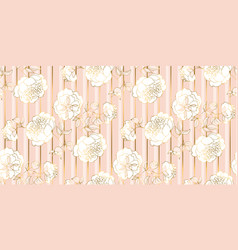 tender pale gold and rosy flower seamless pattern vector image