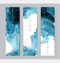 Three blue banners with abstract alcohole ink vector
