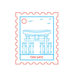 Tori gate postage stamp blue and red line style vector