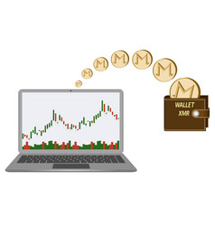 Transfer monero coins in the wallet from laptop vector