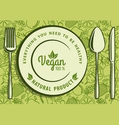 vegan natural food design concept vector image