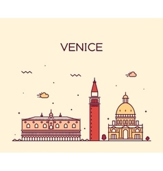 Venice skyline trendy linear vector