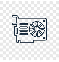 video card concept linear icon isolated on vector image