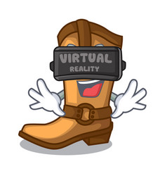 virtual reality old cowboy boots in shape vector image