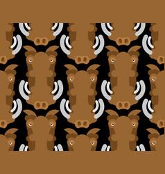 Warthog wild boar seamless pattern african pig vector