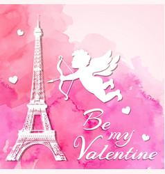 Watercolor romantic valentine background vector