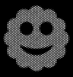 white halftone smiled sticker icon vector image