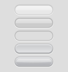 White oval buttons light user interface elements vector