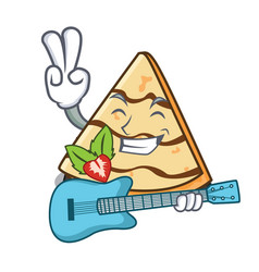 With guitar crepe mascot cartoon style vector