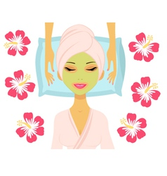 Woman having beauty treatment vector