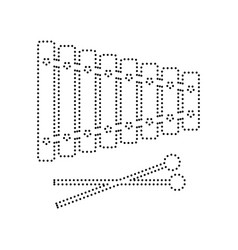 xylophone sign black dotted icon on white vector image