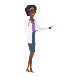 Young african-american doctor pointing to the side vector