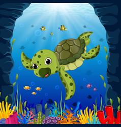 cartoon turtle underwater vector image vector image