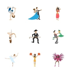 Dancing icons set cartoon style vector image vector image