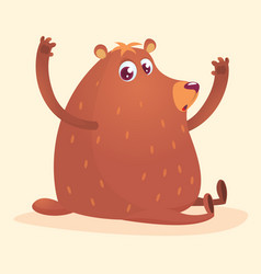 happy cartoon brown bear vector image vector image