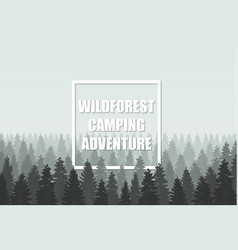 Musterious coniferous wildforest adventure camping vector image