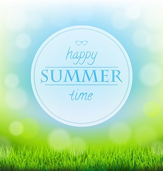 Summer Time Banner With Green Grass vector image vector image