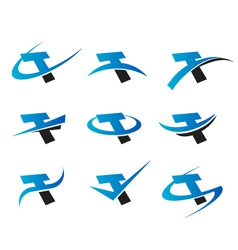 Alphabet T Logo Icons vector image