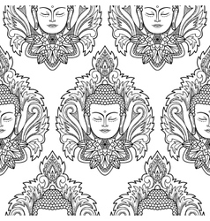 Buddha Head and Lotus Seamless Pattern vector image