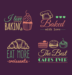 set of vintage bakery logos retro labels vector image vector image