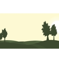 Silhouette of green hill and tree scenery vector image