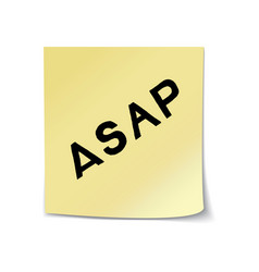 asap lettering on sticky note vector image vector image