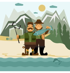 Concept flat design with fisher and hunter and vector image