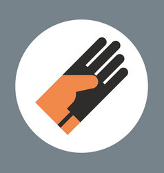 glove icon working hand tool equipment concept vector image
