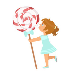 beautiful little girl with huge lollipop a vector image vector image