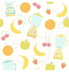 Blender and fruits pattern vector image
