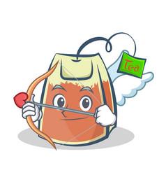 cupid tea bag character cartoon vector image vector image