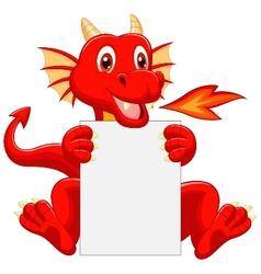 Cute dragon cartoon holding blank sign vector