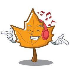 Listening music maple character cartoon style vector