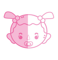 silhouette baby girl head with pacifier and vector image
