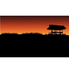 Silhouette of gazebo and grass vector image vector image