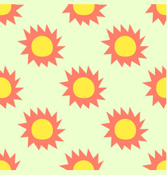 sun pattern seamless summer on yellow background vector image