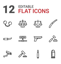 12 crime icons vector image