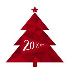 20 percent sale discount 3d christmas tree vector image
