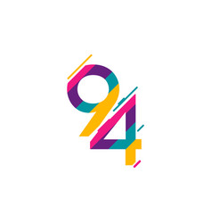 94 years anniversary celebration logo template vector