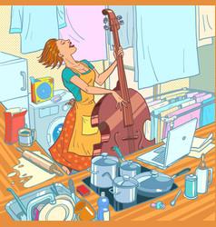 A female musician plays double bass a vector