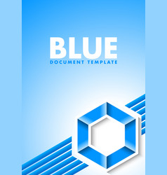 abstract blue document template with lines and vector image
