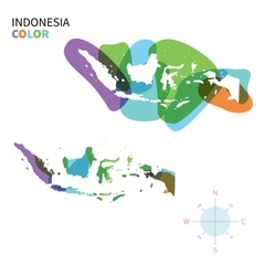 Abstract color map indonesia vector