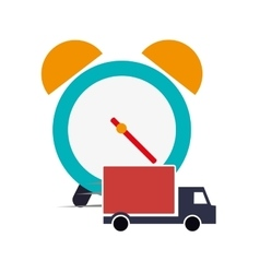 Alarm clock and truck van icon vector