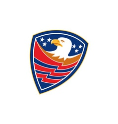 American Bald Eagle Head Flag Shield Retro vector