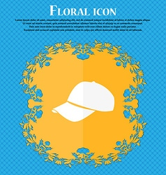 Baseball cap icon Floral flat design on a blue vector image