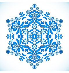 Blue floral circle pattern in gzhel style vector