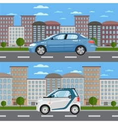 Blue sedan and white smart car on road in city vector