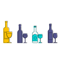 bottle glass icon set color outline style vector image