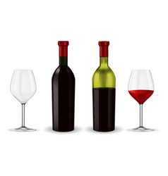 bottles of red wine with glass vector image