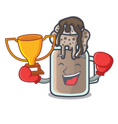 Boxing winner milkshake mascot cartoon style vector